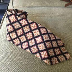 Valentino Mens Tie Italy Silk Cravatte Black Cream